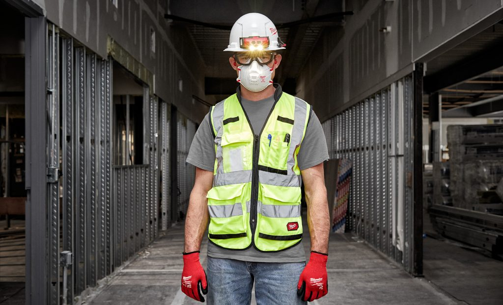 Man wearing hard hat and safety glasses